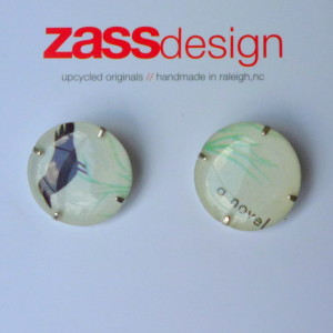 Byrd earrings by Zulay Smith, created from a business card